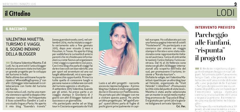 articolo giornale guenda's travels